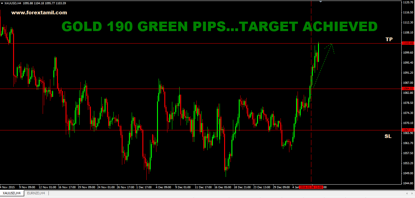 SURE SHOT SIGNAL RESULT: GOLD 190 GREEN PIPS …..TARGET ACHIEVED