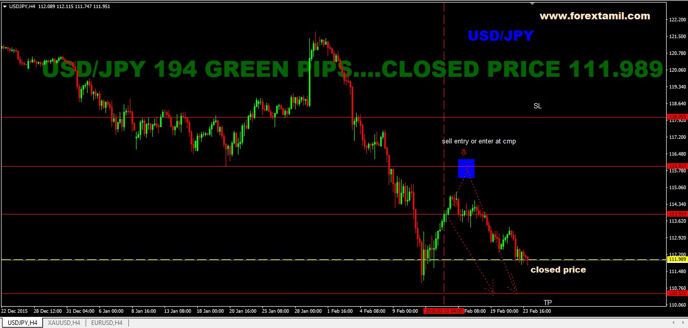 Sure shot Signal Result: USD/JPY 195 GREEN PIPS…CLOSED PRICE @ 111.989
