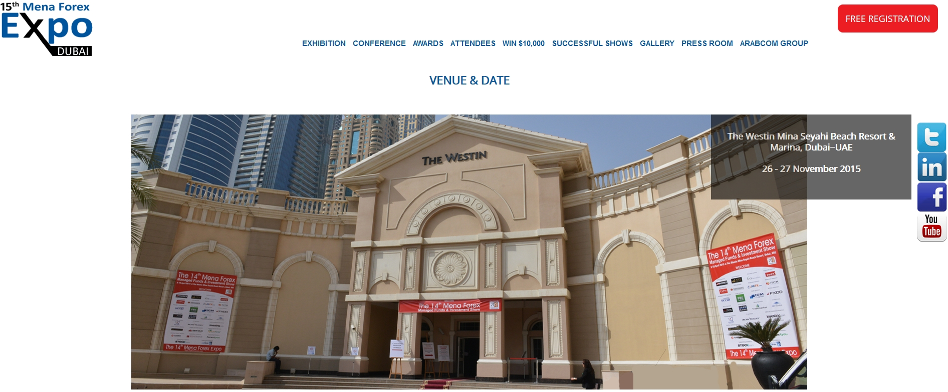 I AM GOING TO ATTEND 15th MENA FOREX EXPO 2015 ON COMING NOV 26& 27