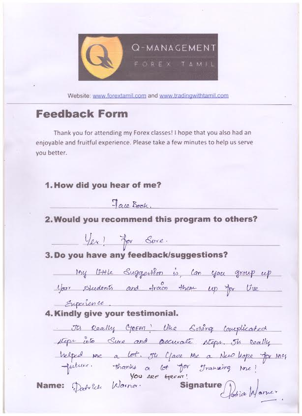 Mr. Patrick Feedback Form Forextrader, ads securities, hantecmarkets, tamil forex coaching, tamil trainings, forex doubts